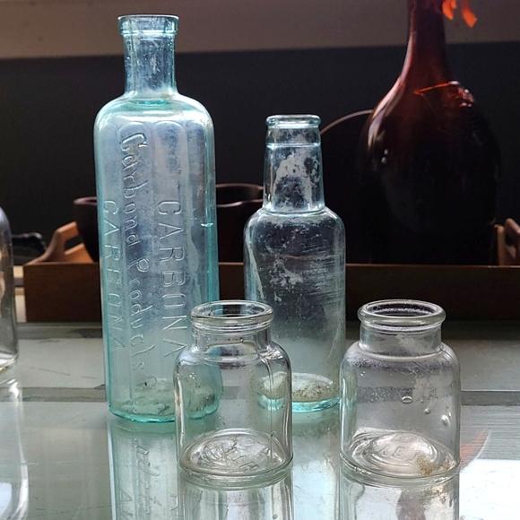 4 Old vintage glass bottles jars vases